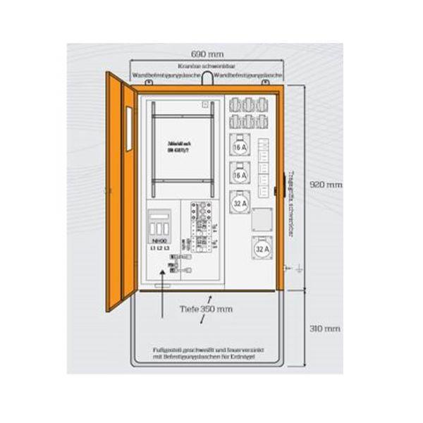 Steidele Baustromverteiler AV 63.2/22-6 allstromsensitiv DIN VDE 0100-704