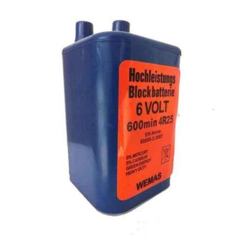 Blockbatterie, Batterie 6V für Baustellenleuchte 4R25 Zink Kohle