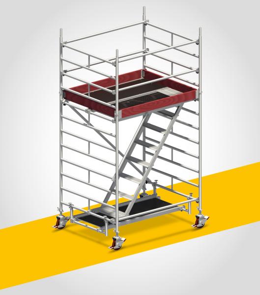 Layher UNI Komfort Fahrgerüst, mit Treppenaufstieg: Gerüsthöhe 3,43 m